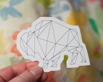 Geometric Bison Decal: Laptop Sticker