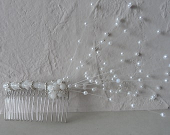 Pearl and Crystal Hair Comb with Spray