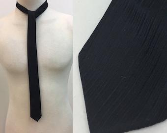 Vintage 1960s Black Skinny Necktie Tie