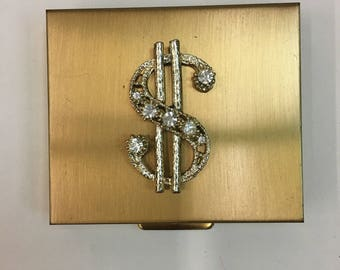 Vintage DOLLAR sign COMPACT / 1950 1960 gold COMPACT Coin Purse