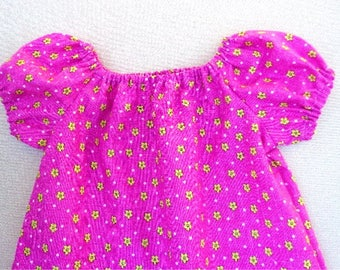 SALE Pink Dress for Girl 12-18M, Pink Peasant Dress, Pink & Yellow Toddler Girl Dress, Pink Summer Dress Girl