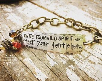 Ignite your wild spirit - hand stamped vintage butter knife bracelet