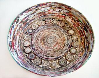 Large Paper Basket, Coiled Baskets, Paper Baskets, Round Baskets, Storage Baskets, Handmade Baskets, Decorative Baskets, Kitchen Baskets