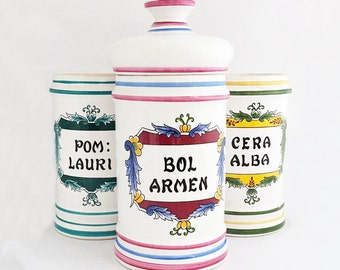 Lot of 3 Vintage French Pharmacy Pot Chemist Apothecary Jar Drug Store Medecine Collectible Doctor Chemist