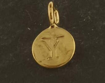 Gold on sterling silver round letter charm Y, gold initial Y charm,  stamped gold letter charm  ,  gold vermeil initial charm