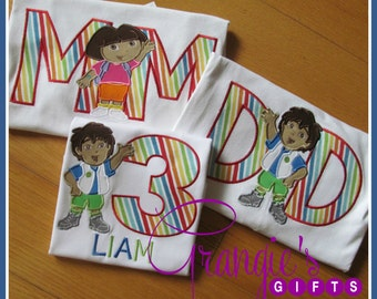 Personalized Go Diego Go and Dora the Explorer Birthday T-Shirt Family Set Package