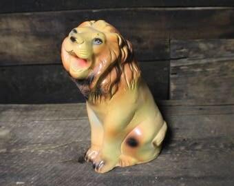 Chalkware Lion, Vintage Carnival Chalkware Roaring Lion