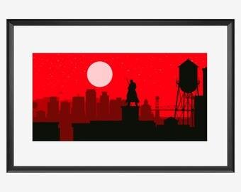 Wilmington Skyline, Wilmington, Wilmington art, Wilmington poster, Vampire, Vampire print, Vampire art, Vampire poster, Vampire illustration