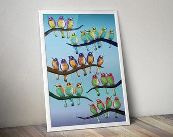 Bird art print - Birds art print - bird art - animal illustrations - animal artist - colourful bird art - A4 - FREE DELIVERY in UK
