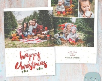 Christmas Card Template - Photoshop template - AC087 - INSTANT DOWNLOAD
