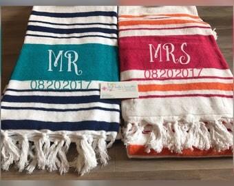Wedding gift, monogrammed beach towel set