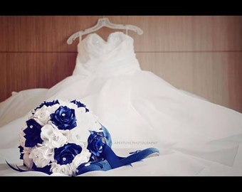 """9"""" Wedding Bouquet: Royal Blue & White Artificial Open Roses with Rhinestone Decor"""
