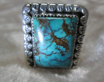 ring, Blue Diamond Turquoise from Nevada...rare...handcrafted by TonyL, size 10