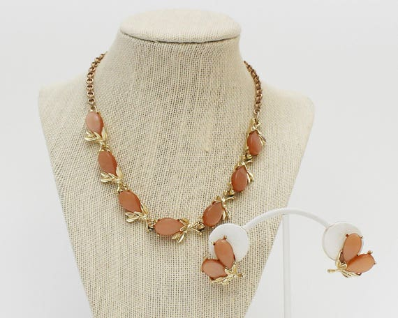60s Peach Pink Thermoset Necklace Set - Vintage 1960s Gold and Peach Necklace and Earrings Set