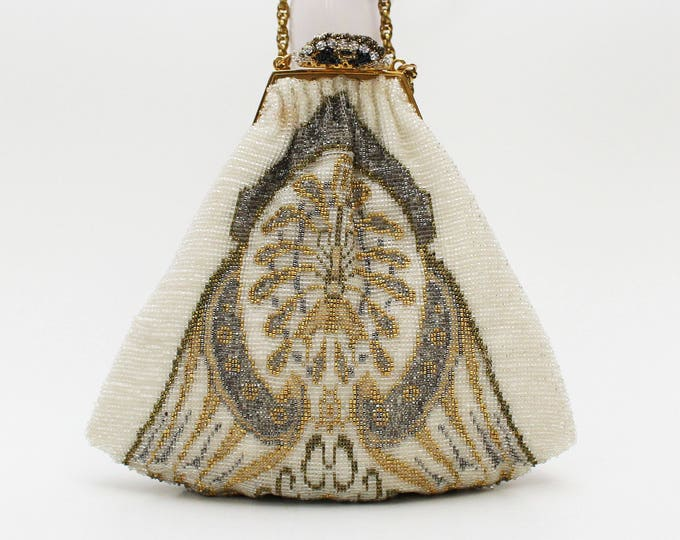 French Micro-beaded Cathedral Handbag - Vintage 1950s White Silver and Gold Glass Bead Bridal Evening Bag