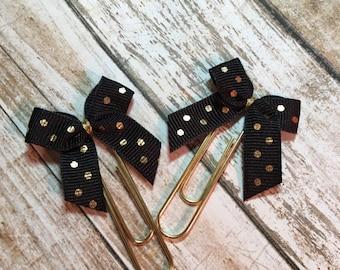 Black & Gold Dots - Set of 2 or 4 Planner Clips / Bookmarks