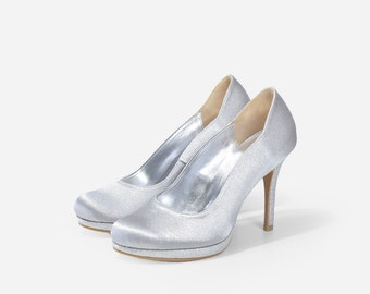 Custom Made Closed Toe Satin Heels, Custom Made Gray Glitter Heels, Custom Made Dinner Heels