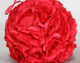 Silk kissing pomander flower ball RED