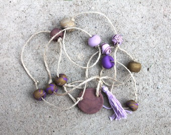 Clay hanging decor purple and gold