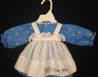 Dress and Apron for 30 inch Raggedy Ann Doll;Blue floral print dress with embroidered apron