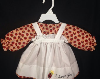 Dress and Apron for 25 inch Raggedy Ann Doll;orange snd white striped Ladybug Print Dress with Embroidered Apron