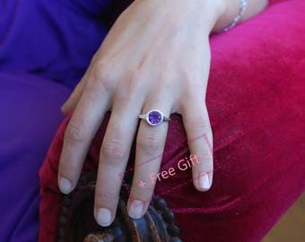 Promise Ring - personalized February birthstone ring, Sterling Silver Amethyst ring, Everyday Amethyst ring, Personalized anniversary gift