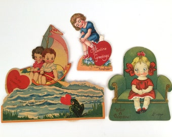 Vintage 20s Valentine Cards, Mechanical, Set of 3, Google Eyes, Frog, Boat, Paddle, Water, Armchair, Crying Girl, Green, Red, Great Colors