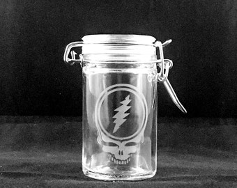 Grateful Dead Stash Jar Etched Glass | Steal Your Face, Dancing Bear, Jerry Garcia Hand, 13 Point Lightning Bolt