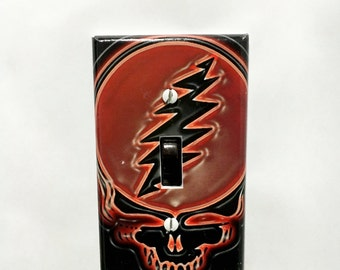 Red Steal Your Face Grateful Dead Light Switch Plate Cover