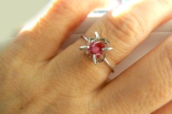 Raw Watermelon tourmaline ring- Tourmaline sterling silver gemstone size 7 ring- Fashion, trendy ring - Pink green stone ring- Women gift