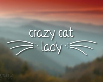 Crazy Cat Lady Vinyl Decal // Car Decal // Crazy Cat Lady // Cat Person Gift // Cat Lover Gift // Pet Lover Gift // Whiskers Decal // Cat