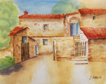 Tuscan Farmhouse, Original Watercolor, Italy, Rural Image, Country, Europe, Architectural Watercolor Painting