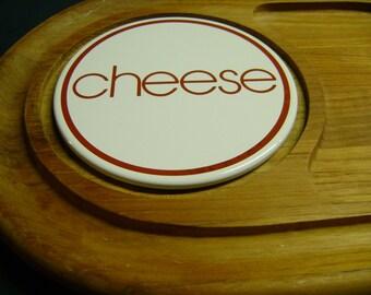 Wood Cheese Tray Vintage 70s Teak Wood Beautiful