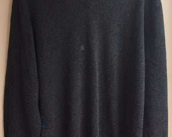 Charcoal Grey Oversized 100% Cashmere sweater upcycled one size fits most SML by Three Whiskers Farm