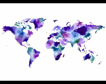 Watercolor world map - purple, blue