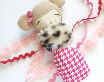 Baby Doll, Cloth Doll, Handmade Doll, Modern Rag Doll, Faux Fur Leopard, Pink Houndstooth