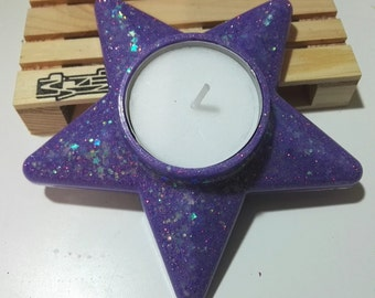Candle holder Resin star and glitter. Lilac