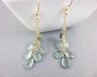 Moss Aquamarine Chakra Earrings - Wire Wrapped Briolette Earrings - March Birthstone - Throat Chakra Healing Crystals - Gold Fill