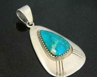 Native American Hopi Turquoise Sterling Silver Handmade LARGE Pendant Signed Marcus Yowytewa