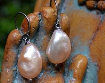 Sterling Big Pearl Earrings, Peach Pink Pearl Sterling Earrings, Sterling Big Pearl Earrings, Sterling Natural Freshwater Pearl Earrings