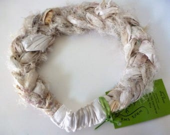 A Sari Silk Fuzzy Braided Headband in every shade between white and stone, shot with gold - calm but not boring!