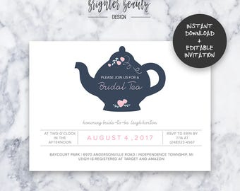 Bridal Tea Shower Invitation | INSTANT DOWNLOAD | Editable PDF| Do It Yourself | Printable