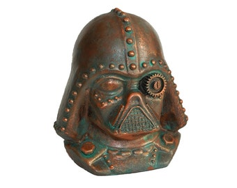 Steampunk Darth Vader, Star Wars Art Ornament, Aged Copper Effect, Hand Made and Unique