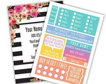 Fashion Consultant 5x7 Card with Sizing, Referrals, Punch Card Rewards, and More - LuLaRoe Branded
