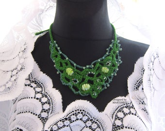Green Crochet necklace, Boho Woman necklace, Crochet Freeform,Bead Crochet Bib, Fiber art Jewelry