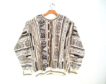 Vintage 90s Sweater Textured Knitwear Earth Tone Large