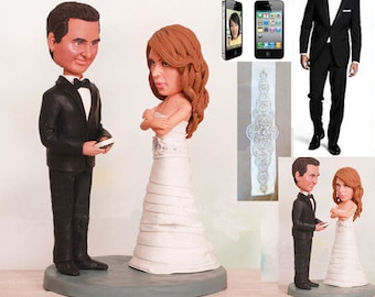 Personalised wedding cake topper -Texting Groom and Annoyed Bride Wedding Cake Toppers (Free shipping)
