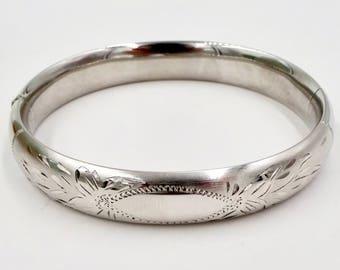 Vintage WEH STERLING BANGLE Bracelet Walter E. Hayward Sterling Silver Hinged Bangle Bracelet Etched Finish