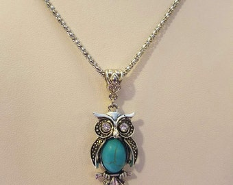 Silver & Turquoise Filigree Owl Necklace