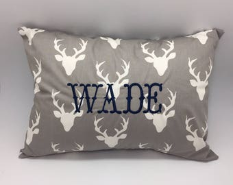 Monogrammed baby pillow with deer antler print, personalized woodland rustic baby gift